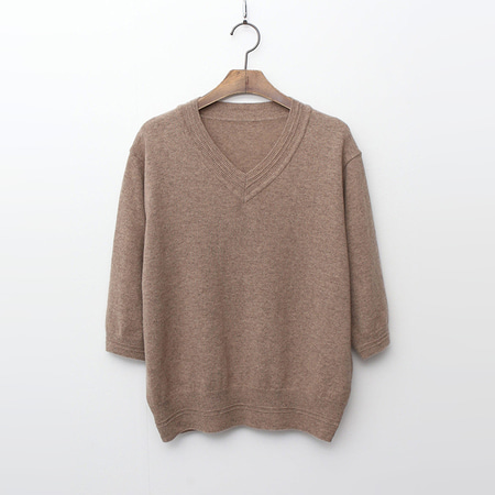 Cashmere N Wool Rose V-Neck Sweater - 반팔