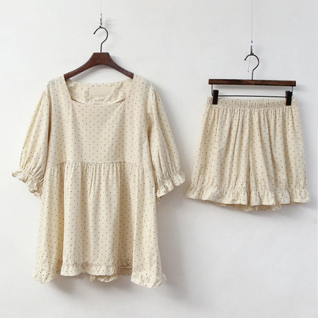Dot Puff Pajama Set