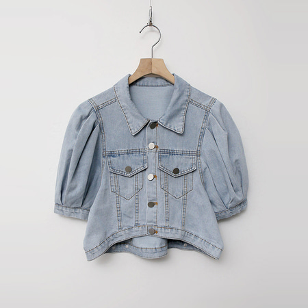 Puff Crop Denim Jacket - 반팔