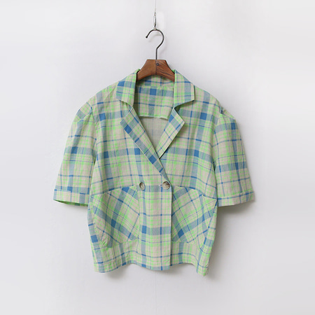 Linen Check Puff Crop Jacket