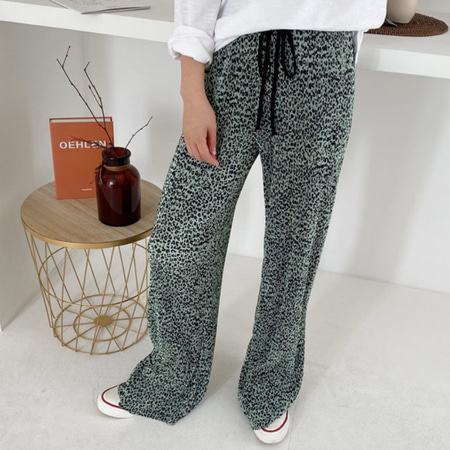 Pleats Leopard Wide Pants