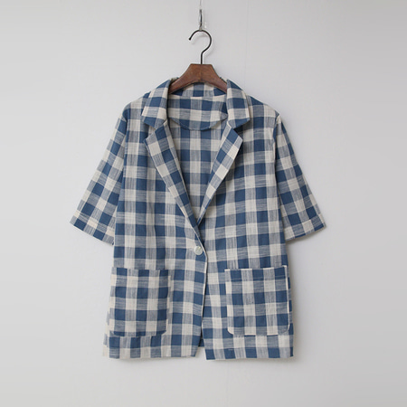 Linen Cotton Check One Jacket - 반팔