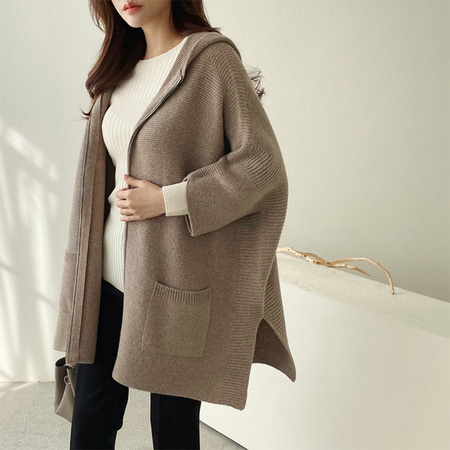 Maille Wool Hood Poncho Coat