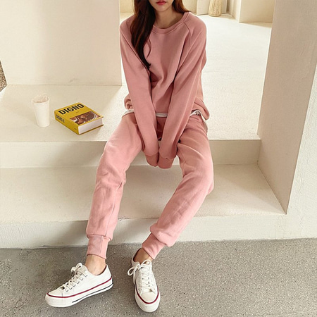 [Set] Gimo Twin Sweatshirt + Jogger Pants - 기모안감