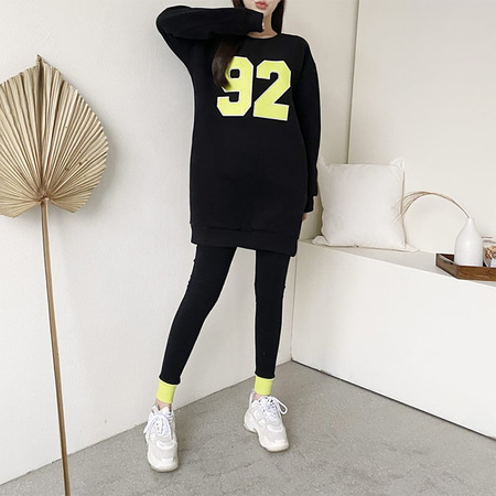 [Set] Gimo Twin Long Tee + Leggings - 기모안감