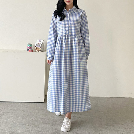 Gingham Shirt Long Dress