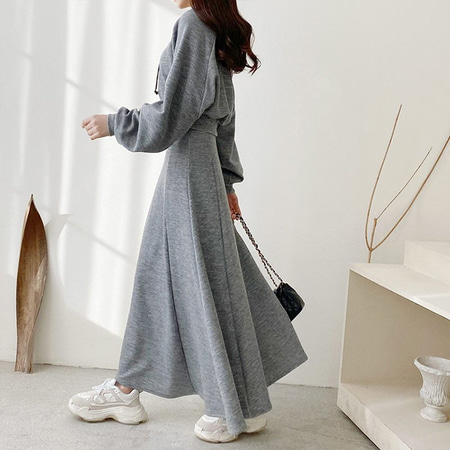 [Set] Hood Crop Sweatshirt + A-Line Long Skirt