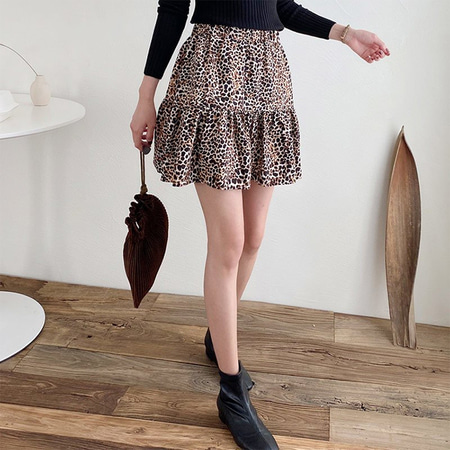 Leopard Cancan Mini Skirt - 치마바지