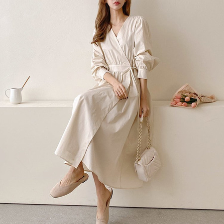 Tulip Puff Wrap Long Dress