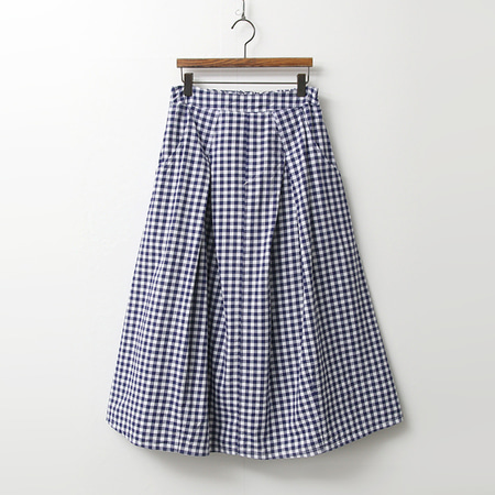 Gingham Check Full Long Skirt