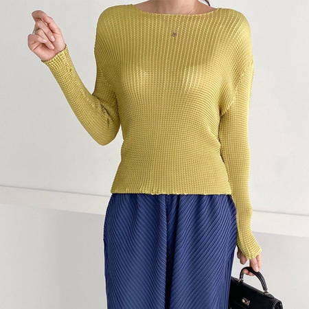 Pleats Wa Round Blouse - 긴팔