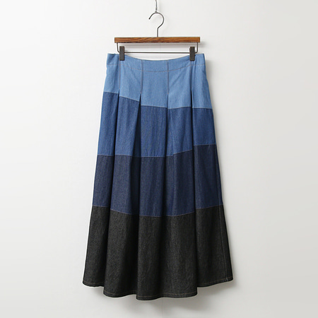 Denim Combo Full Long Skirt