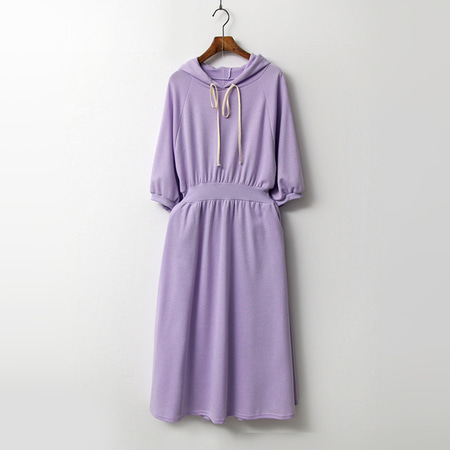 Hood Fit N Flare Long Dress - 반팔