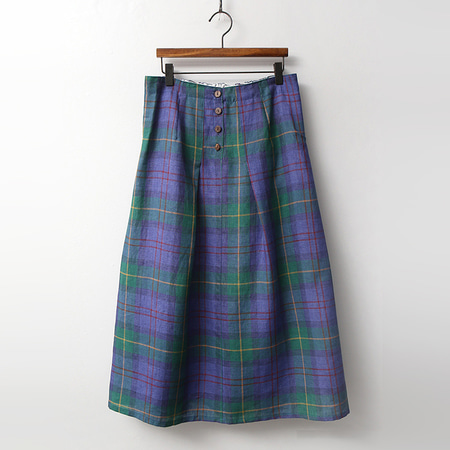 Linen Check Full Long Skirt