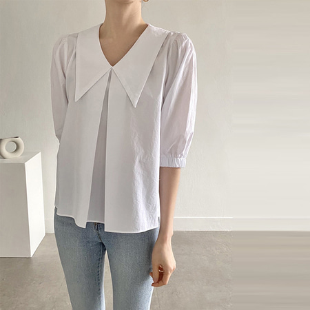 Big Collar Puff Blouse