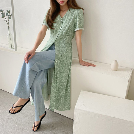 Alice Button Flare Long Dress