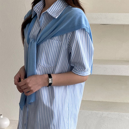 [Set] Stripe Shirts Long Dress + Shawl