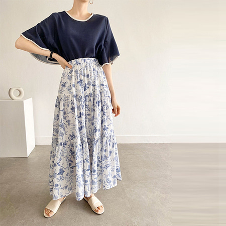 Ginori Flower Cancan Long Skirt