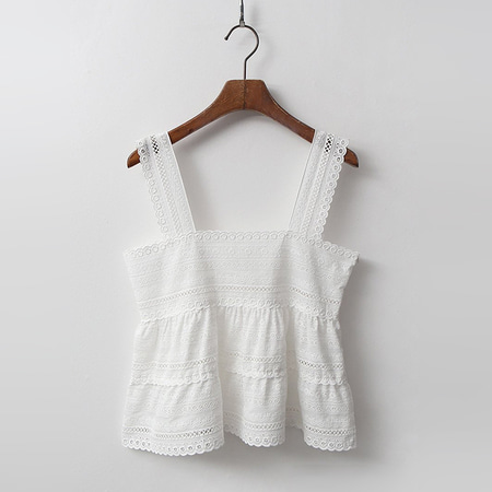 White Lace Tank Blouse