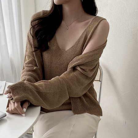 [Set] Linen Knit Cami + Cardigan